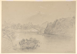 View of the Mahaveliganga River and Hunasgiria Park (Ceylon). 18 April 1870